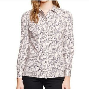 Tory Burch Silk Angelique Button Up Blouse Size 6